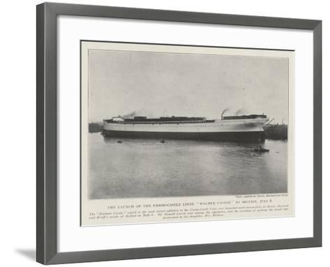 The Launch of the Union-Castle Liner Walmer Castle at Belfast, 6 July--Framed Art Print