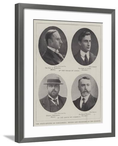The State Opening of Parliament, Movers and Seconders of the Address--Framed Art Print
