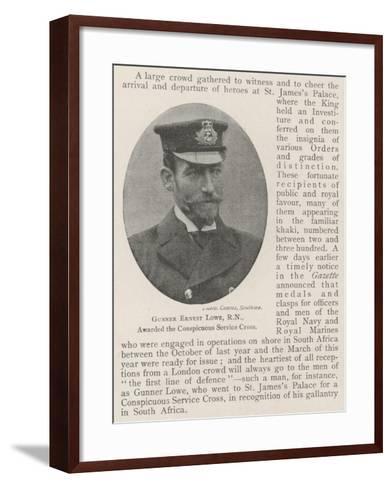 Gunner Ernest Lowe, Rn, Awarded the Conspicuous Service Cross--Framed Art Print