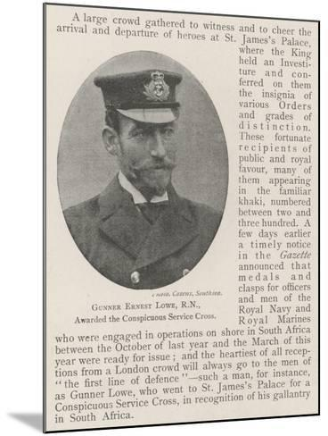 Gunner Ernest Lowe, Rn, Awarded the Conspicuous Service Cross--Mounted Giclee Print