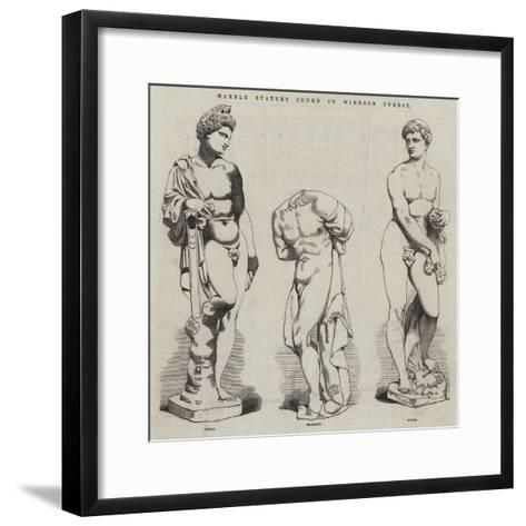 Marble Statues Found in Windsor Forest--Framed Art Print