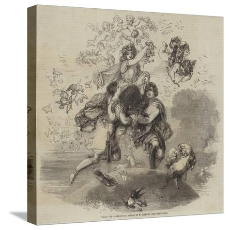 May, an Allegorical Design by W Harvey--Stretched Canvas Print