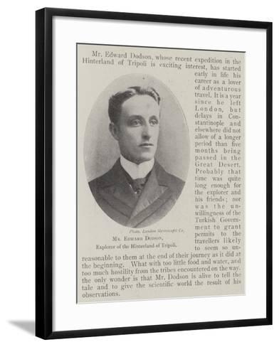 Mr Edward Dodson, Explorer of the Hinterland of Tripoli--Framed Art Print