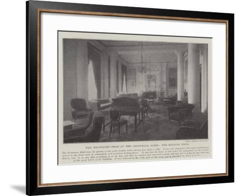 The Reconstruction of the Grosvenor Hotel, the Reading Room--Framed Art Print