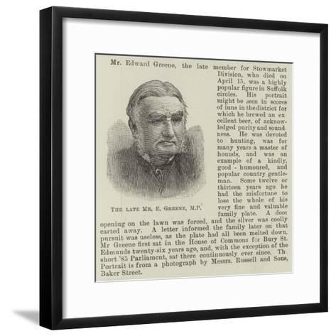 The Late Mr E Greene--Framed Art Print