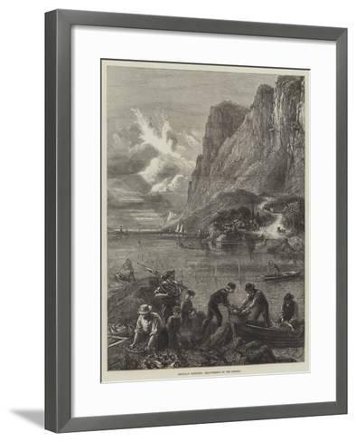 American Sketches, Shad-Fishing on the Hudson--Framed Art Print