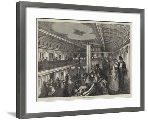 American Sketches, Saloon of a Steam-Boat--Framed Art Print