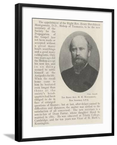 The Right Reverend H H Montgomery, New Secretary Spg--Framed Art Print