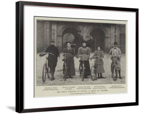 The Royal Wedding at Coburg, a Group of Cyclists--Framed Art Print