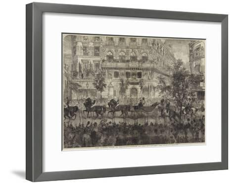The Queen's Visit to Paris, Procession on the Boulevards Des Italiens--Framed Art Print