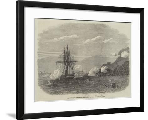 HMS Rinaldo Bombarding Salangore, in the Strait of Malacca--Framed Art Print