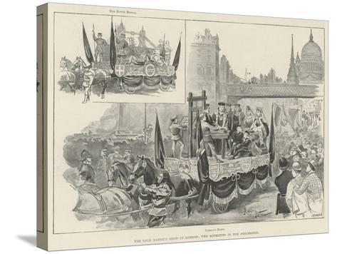 The Lord Mayor's Show in London, Two Novelties in the Procession--Stretched Canvas Print