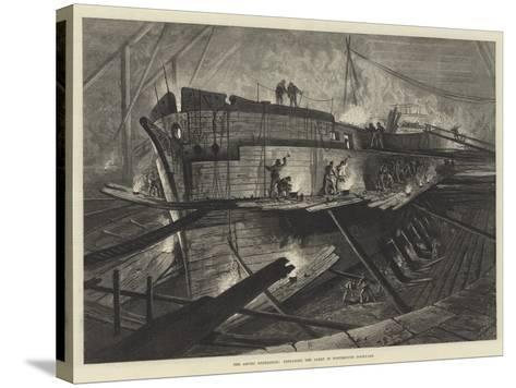 The Arctic Expedition, Preparing the Alert in Portsmouth Dockyard--Stretched Canvas Print