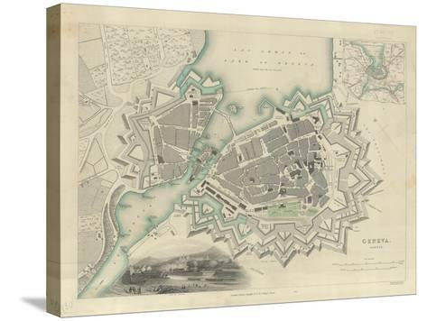 Map of Geneva, with an Illustrated 'View of the City', 1847--Stretched Canvas Print
