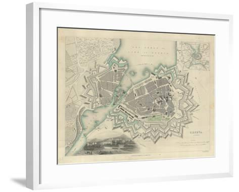 Map of Geneva, with an Illustrated 'View of the City', 1847--Framed Art Print