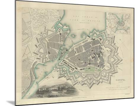 Map of Geneva, with an Illustrated 'View of the City', 1847--Mounted Giclee Print