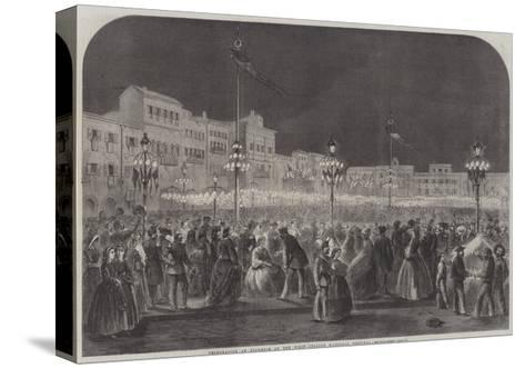 Celebration at Florence of the First Italian National Festival--Stretched Canvas Print