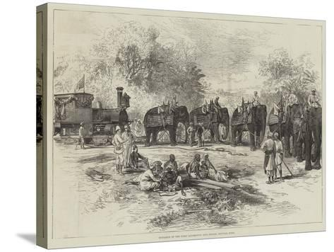 Entrance of the First Locomotive into Indore, Central India--Stretched Canvas Print