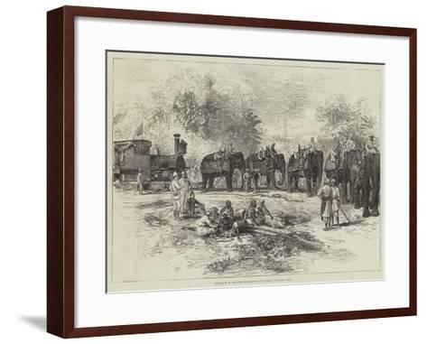 Entrance of the First Locomotive into Indore, Central India--Framed Art Print