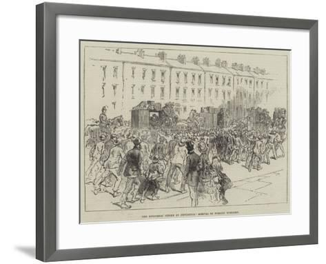 The Engineers' Strike at Newcastle, Arrival of Foreign Workmen--Framed Art Print