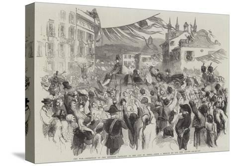 The War, Reception of the Emperor Napoleon in the City of Genoa--Stretched Canvas Print