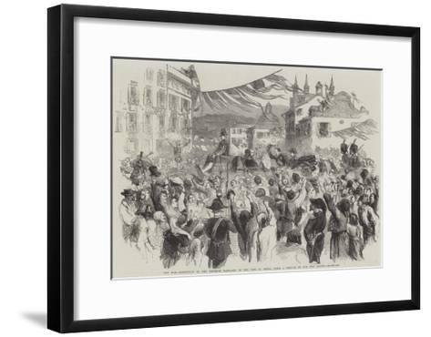 The War, Reception of the Emperor Napoleon in the City of Genoa--Framed Art Print