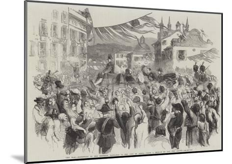 The War, Reception of the Emperor Napoleon in the City of Genoa--Mounted Giclee Print