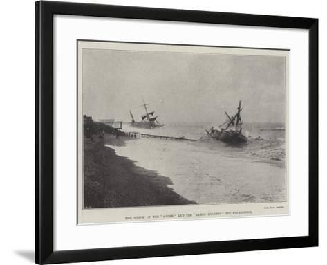 The Wreck of the Agder and the Baron Holberg Off Folkestone--Framed Art Print