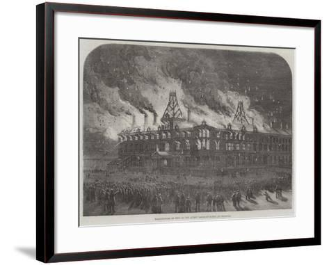 Destruction by Fire on the Queen Railway Hotel at Chester--Framed Art Print