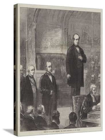 Election of a New Speaker, Mr Brand Inducted to the Chair--Stretched Canvas Print