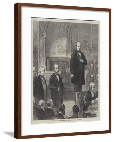 Election of a New Speaker, Mr Brand Inducted to the Chair--Framed Art Print