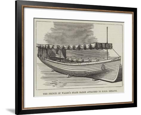The Prince of Wales's State Barge Attached to HMS Serapis--Framed Art Print