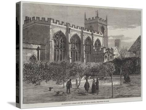 Shakespeare's Garden and Old Guild Chapel, Stratford-On-Avon--Stretched Canvas Print