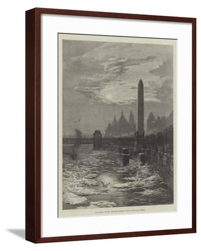 The Frozen Thames, Seagulls Circling Round Cleopatra's Needle--Framed Art Print