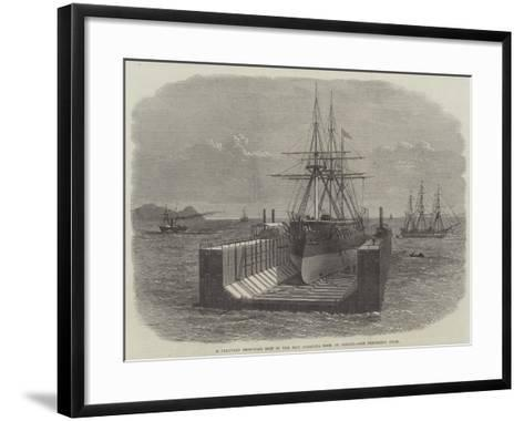A Peruvian Iron-Clad Ship in the New Floating Dock at Callao--Framed Art Print
