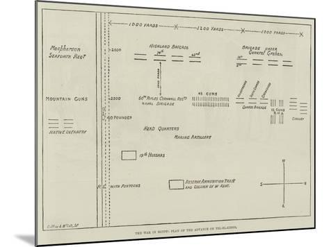 The War in Egypt, Plan of the Advance on Tel-El-Kebir--Mounted Giclee Print