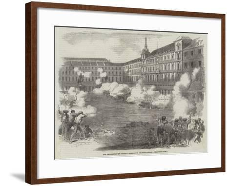 The Insurrection in Madrid, Conflict in the Plaza Mayor--Framed Art Print