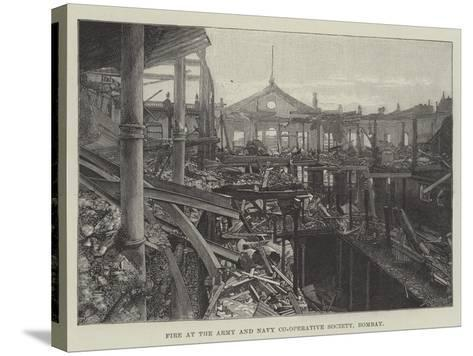 Fire at the Army and Navy Co-Operative Society, Bombay--Stretched Canvas Print