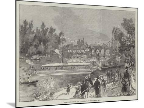 Swan-Upping on the Thames, from Brentford Ait--Mounted Giclee Print