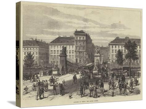 Sketches in Vienna, the Aspern Bridge--Stretched Canvas Print