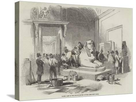 Taking Casts of the Sphynx, at the Louvre--Stretched Canvas Print