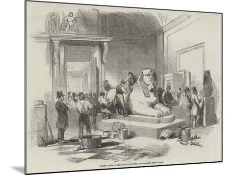Taking Casts of the Sphynx, at the Louvre--Mounted Giclee Print