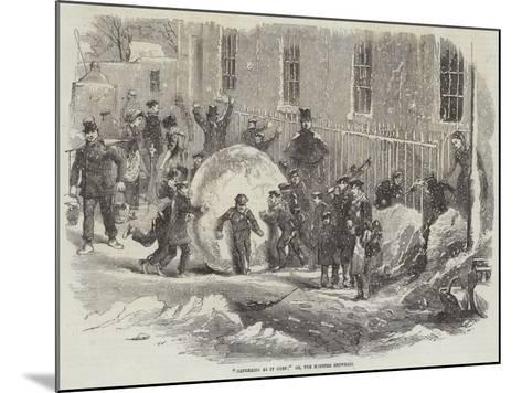 Gathering as it Goes; Or, the Monster Snowball--Mounted Giclee Print
