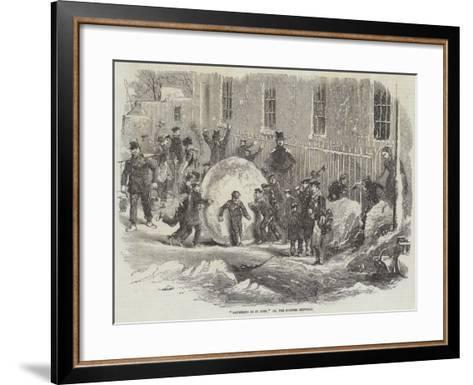 Gathering as it Goes; Or, the Monster Snowball--Framed Art Print