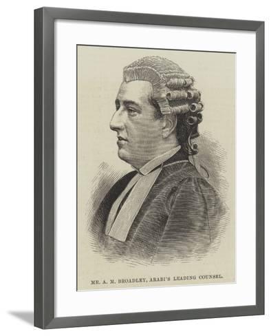 Mr a M Broadley, Arabi's Leading Counsel--Framed Art Print