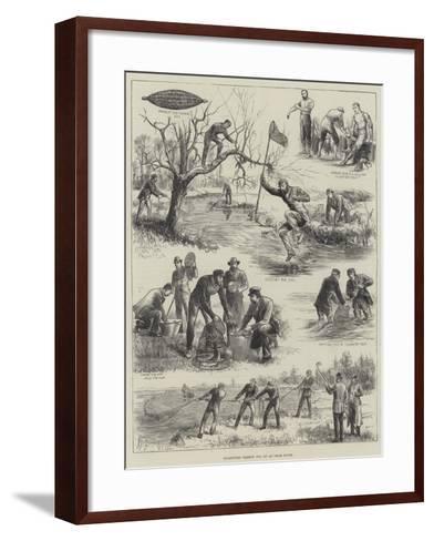 Collecting Salmon Ova on an Irish River--Framed Art Print