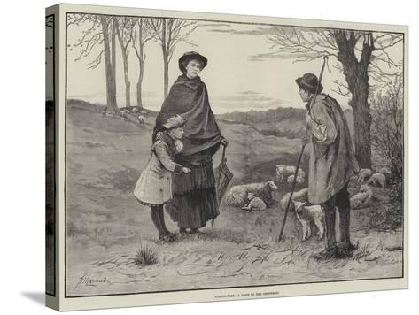 Spring-Time, a Visit to the Shepherd--Stretched Canvas Print