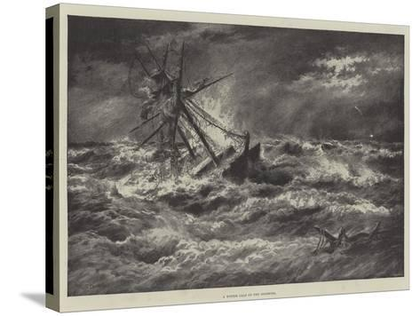 A Winter Gale on the Goodwins--Stretched Canvas Print