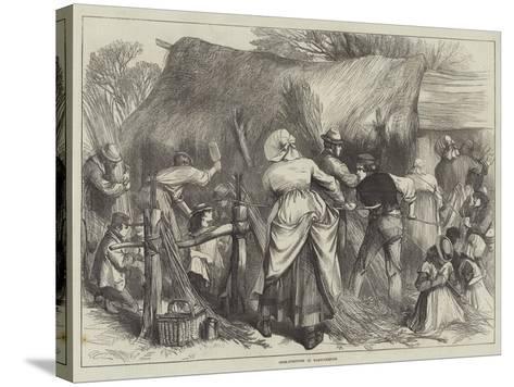 Osier-Stripping in Warwickshire--Stretched Canvas Print