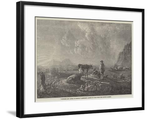 Cowherds and Cattle, in Evening--Framed Art Print